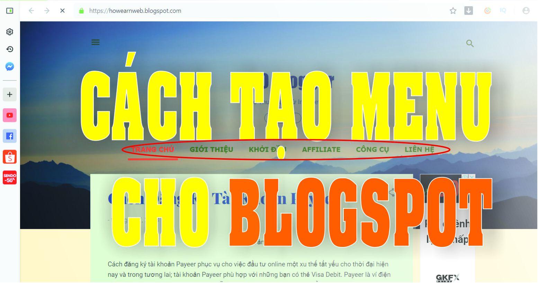 Tạo Menu Ngang Cho Trang Blogspot